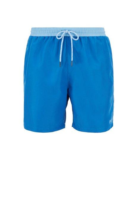 Short de bain de longueur moyenne en tissu à séchage rapide, Bleu