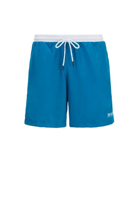 Medium-length swim shorts in quick-drying fabric, Blue