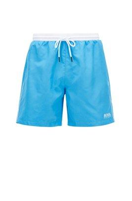 Halblange Badeshorts aus schnell trocknendem Gewebe, Blau