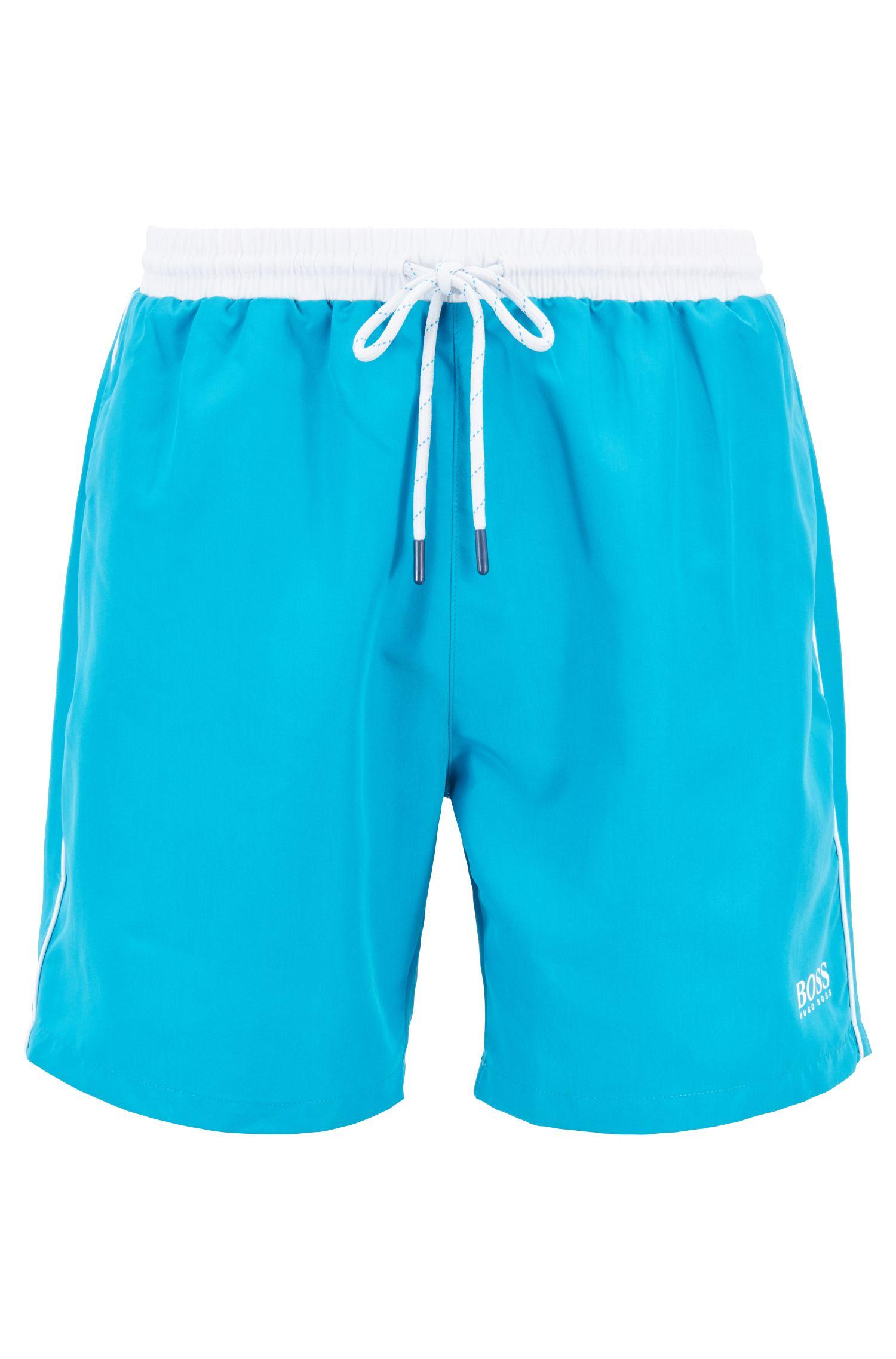 Short de bain de longueur moyenne en tissu à séchage rapide, Turquoise