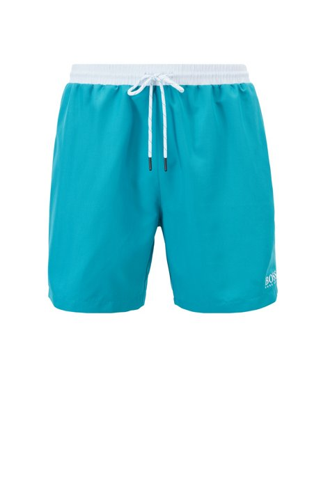 Medium-length swim shorts in quick-drying fabric, Turquoise