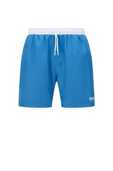 Medium-length swim shorts in quick-drying fabric, Light Blue