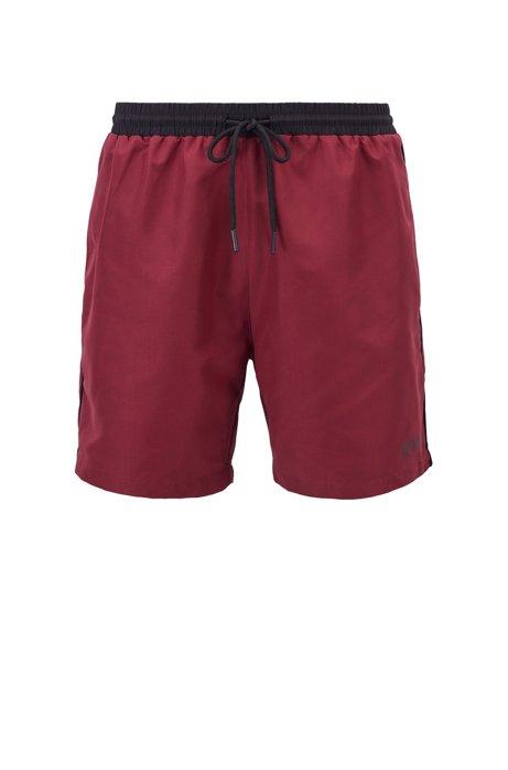 Medium-length swim shorts in quick-drying fabric, Dark Red