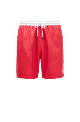Medium-length swim shorts in quick-drying fabric, Red