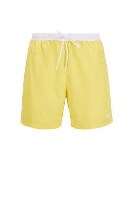 Medium-length swim shorts in quick-drying fabric, Yellow
