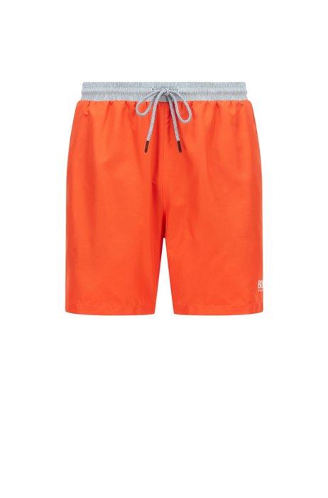 Medium-length swim shorts in quick-drying fabric, Orange