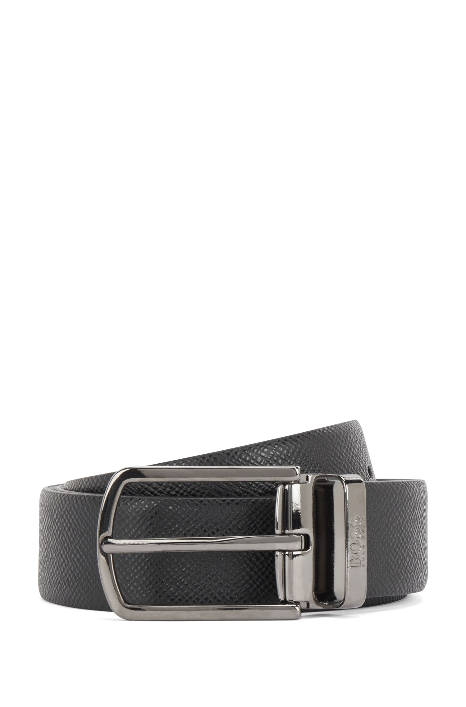 Travel Line reversible leather belt with detachable buckle, Black