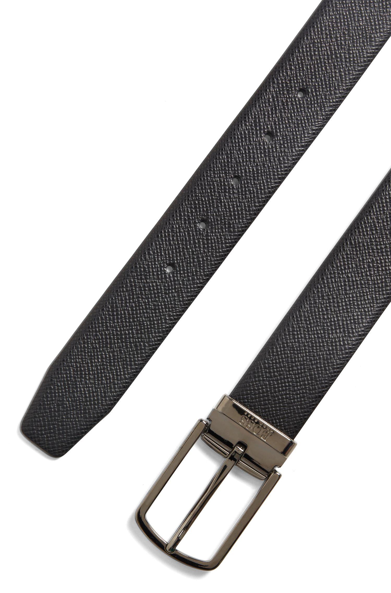 Cintura reversibile in pelle della linea Travel Line con fibbia rimovibile, Nero