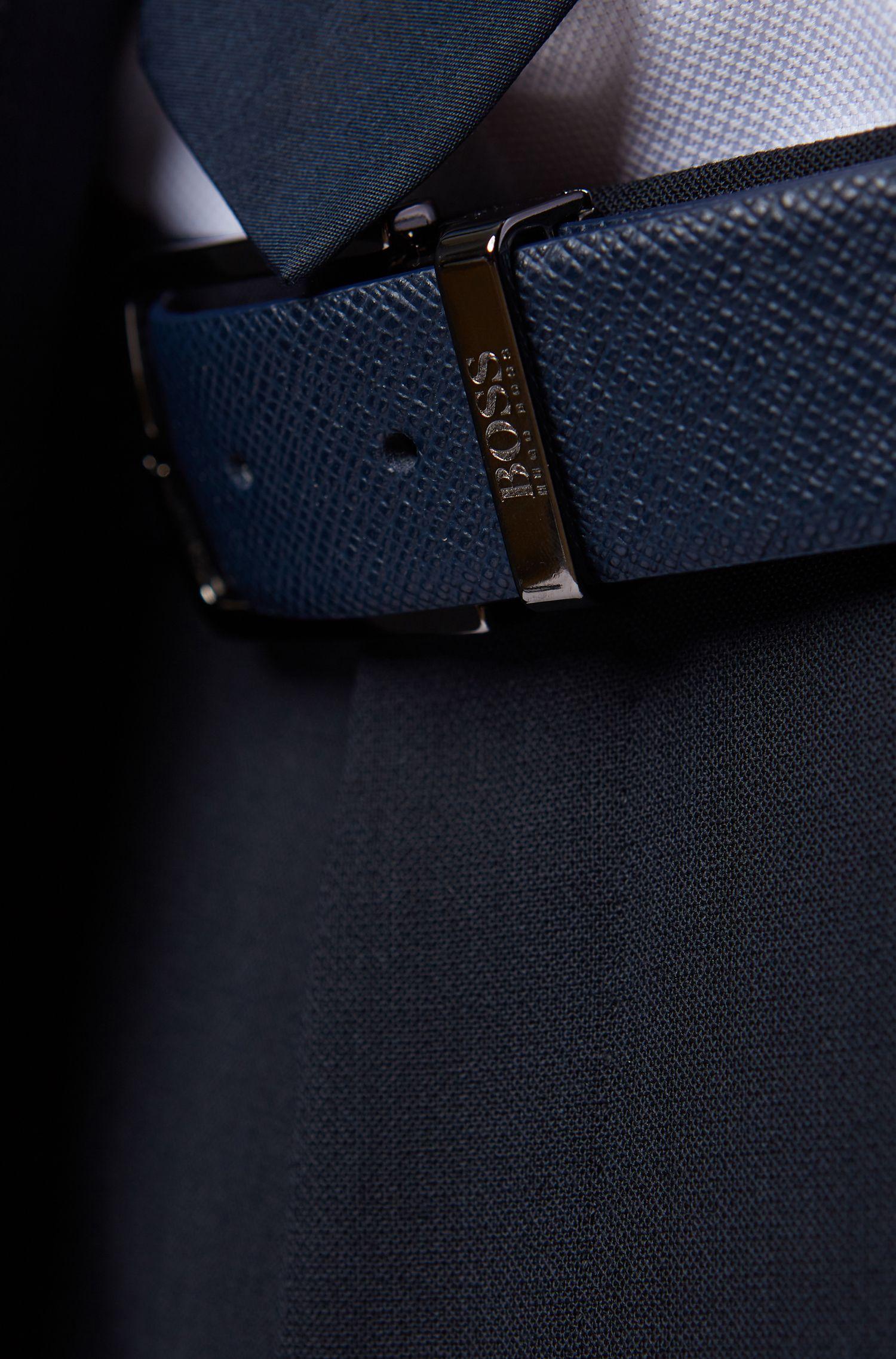 Cinturón reversible de piel Travel Line con hebilla desmontable, Azul oscuro