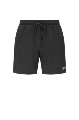 Quick-drying swim shorts with contrast logo and piping, Black