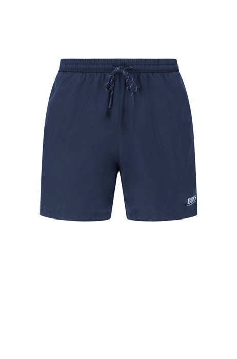 Quick-drying swim shorts with contrast logo and piping, Dark Blue