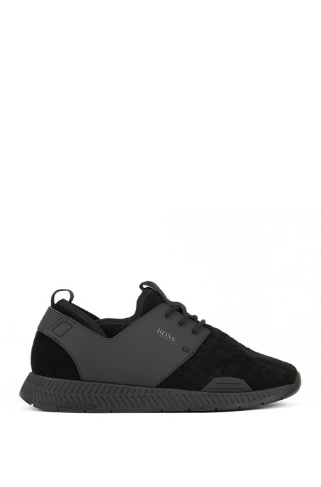 Running-style hybrid trainers with EVA and rubber sole, Black