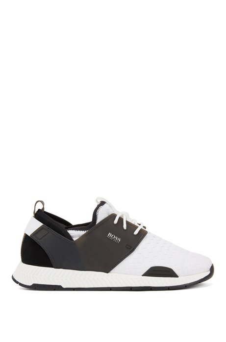 Running-style hybrid trainers with EVA and rubber sole, White