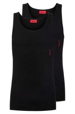 Set van twee slim-fit onderhemden met logodetail, Zwart