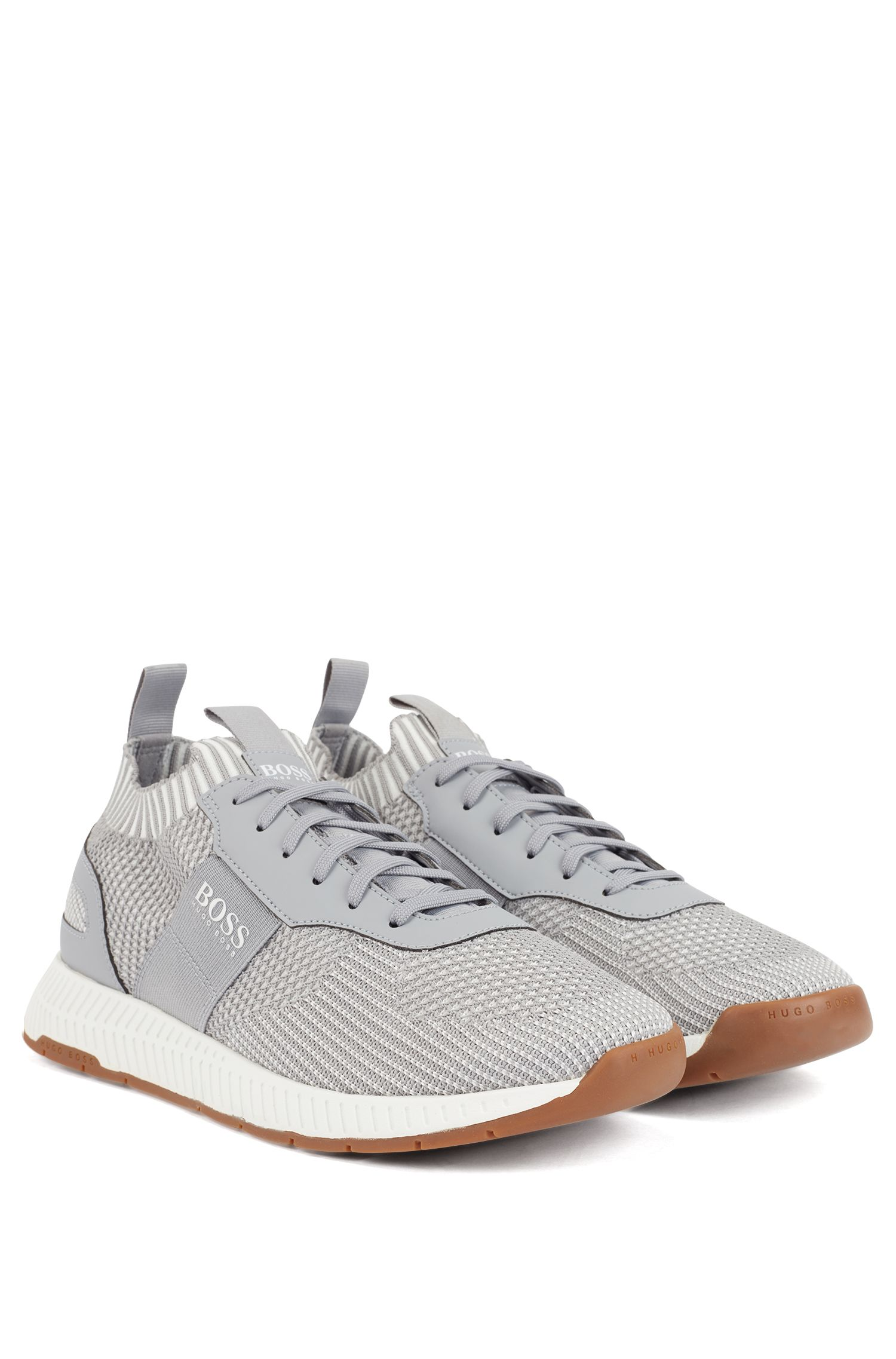 Knitted-upper trainers with sustainable S.Café yarns, Light Grey