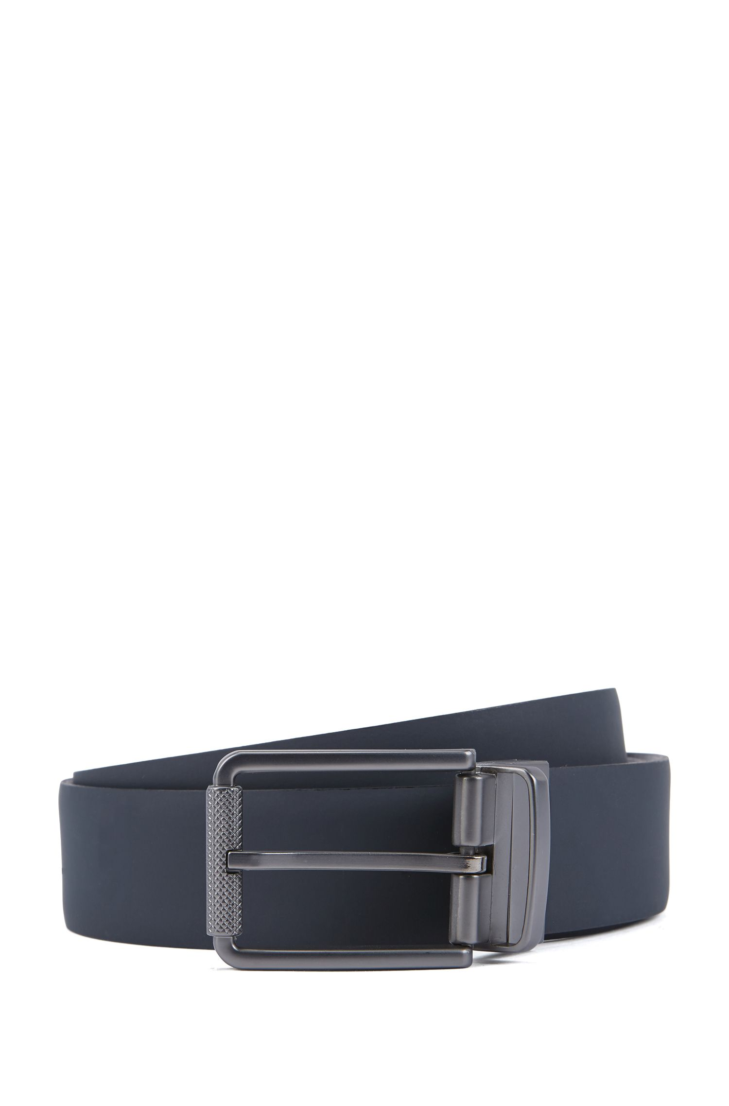 Reversible belt in rubberised and embossed leather, Dark Blue