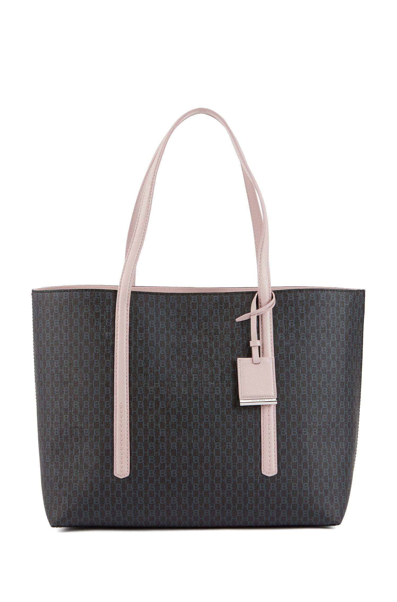 Shopper handbag in monogram-printed fabric, Black