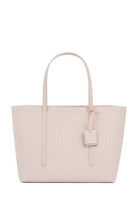 Shopper handbag in monogram-printed fabric, light pink