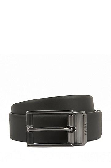 皮面金属配件双面皮带,  001_Black