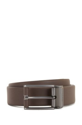 Reversible leather belt with leather-covered hardware, Dark Brown