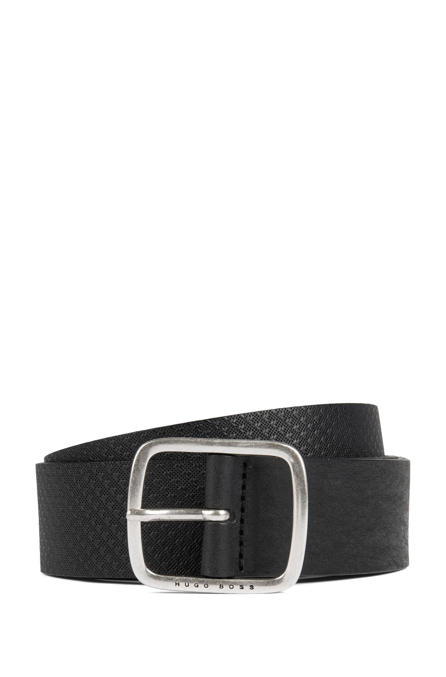 Hybrid belt in smooth and embossed leather, Black