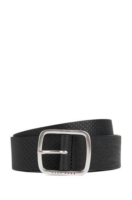 Hybrid-Gürtel aus glattem und geprägtem Leder, Schwarz
