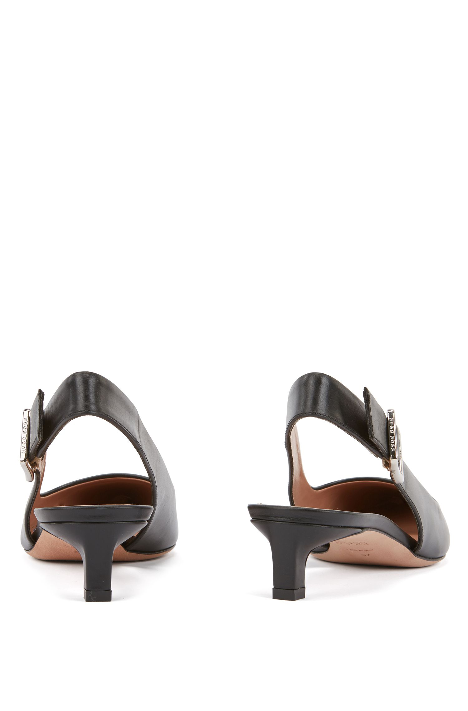 Pointed-toe slingback pumps in Italian calf leather, Black