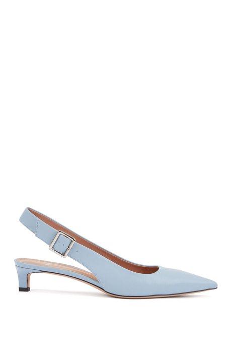 Zapatos de salón con talón abierto y puntera afilada en piel de becerro italiana, Azul oscuro