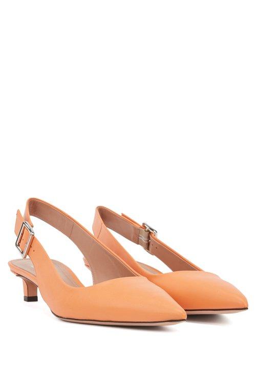 Hugo Boss - Zapatos de salón con talón abierto y puntera afilada en piel de becerro italiana - 2