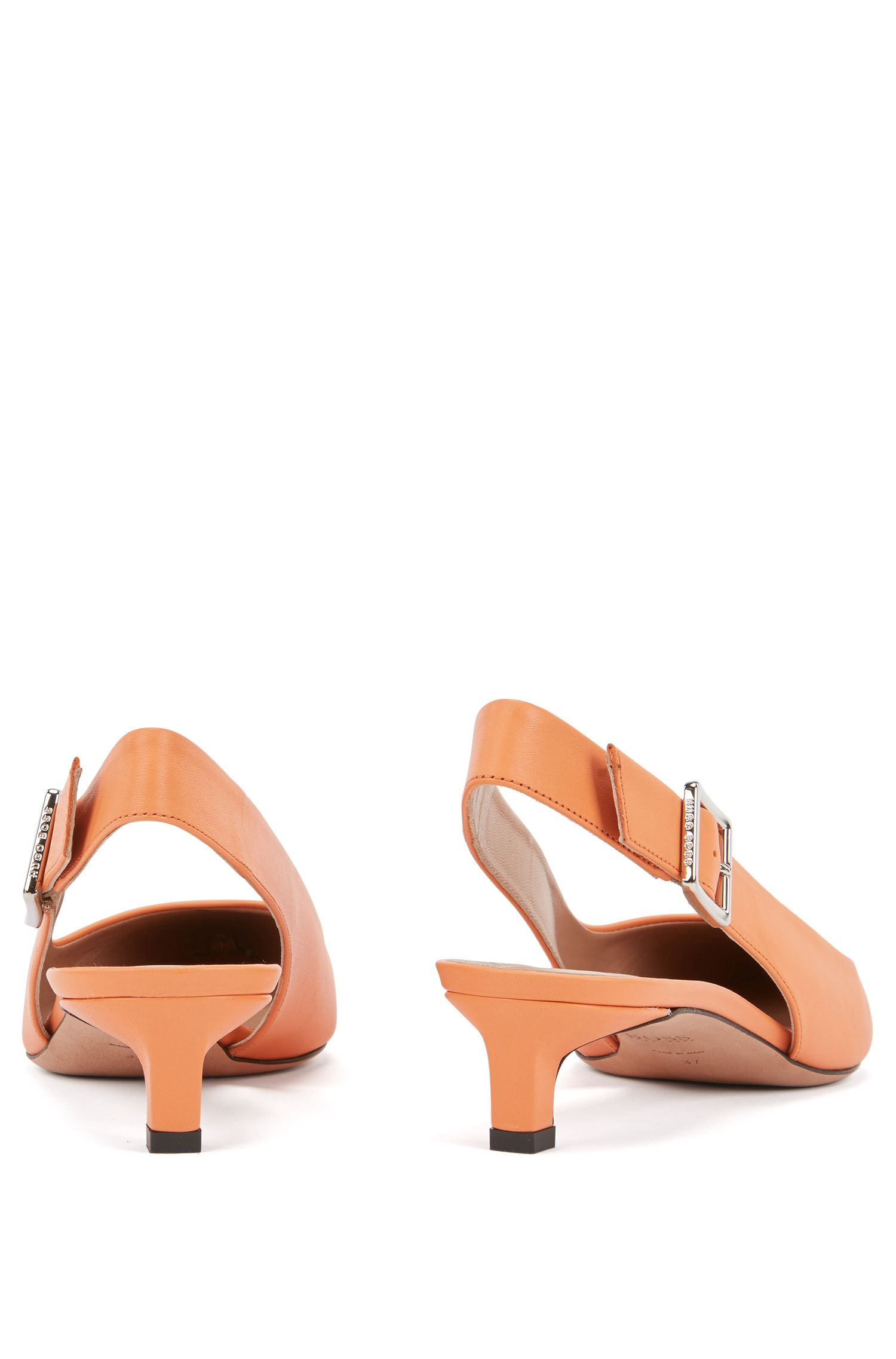 Pointed-toe slingback pumps in Italian calf leather, Orange