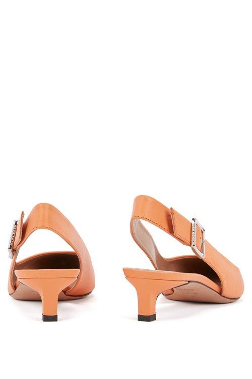 Hugo Boss - Zapatos de salón con talón abierto y puntera afilada en piel de becerro italiana - 6