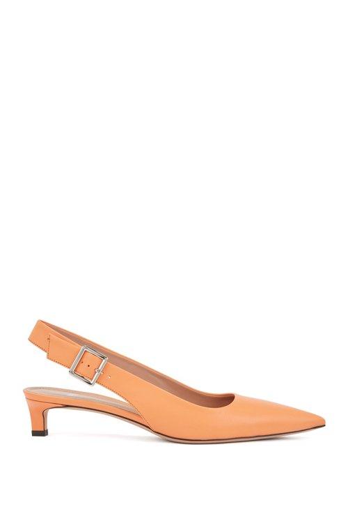Hugo Boss - Zapatos de salón con talón abierto y puntera afilada en piel de becerro italiana - 1