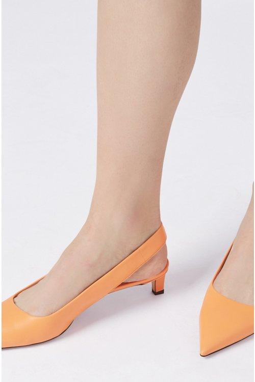 Hugo Boss - Zapatos de salón con talón abierto y puntera afilada en piel de becerro italiana - 4