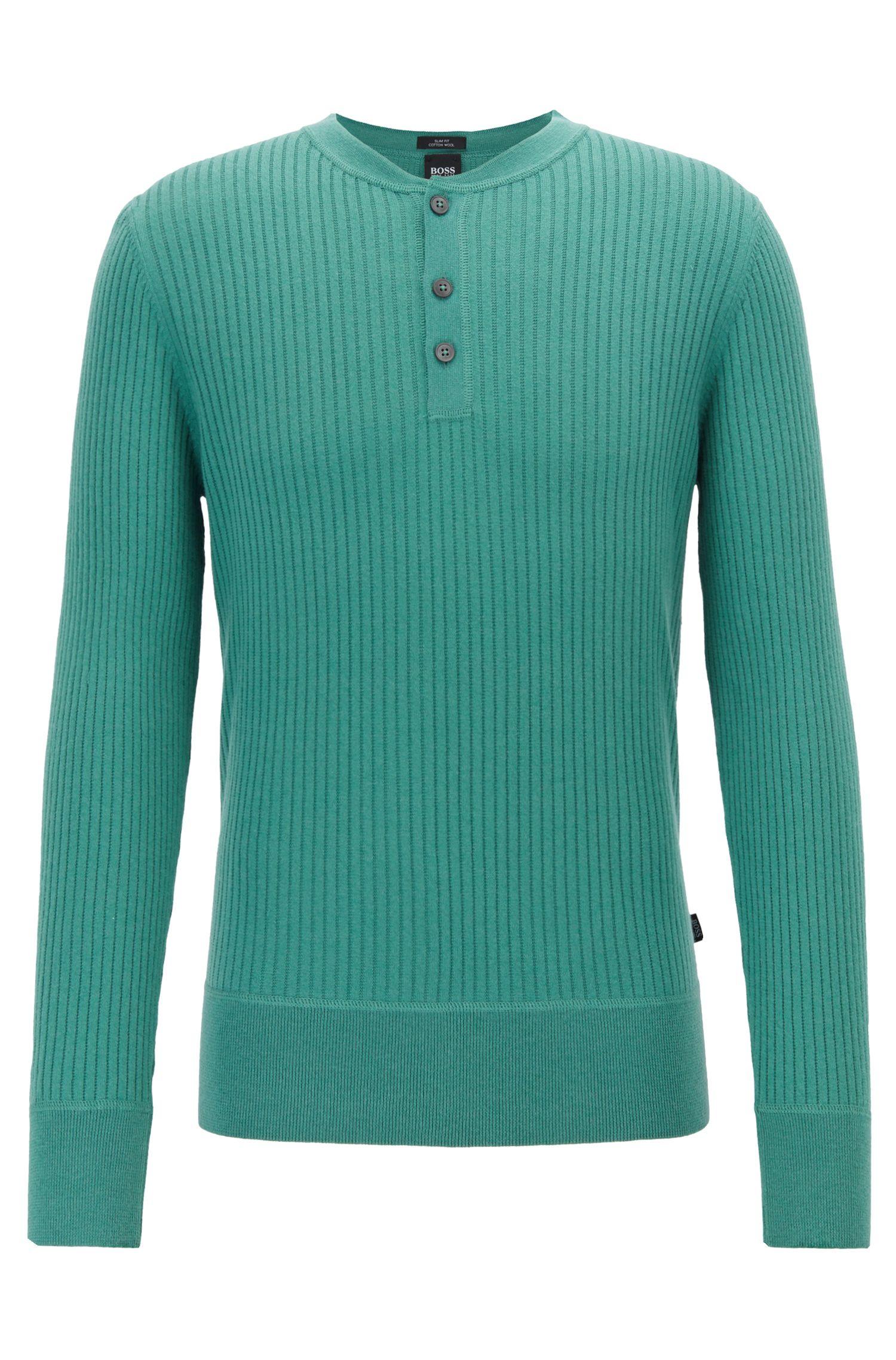 Slim-fit geribbelde trui met Henley-halslijn, Groen