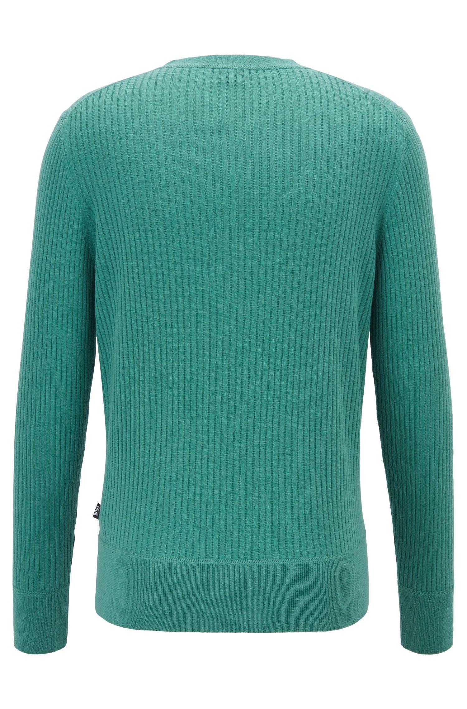 Gerippter Pullover aus Baumwoll-Mix mit Wolle mit Henley-Ausschnitt, Grün