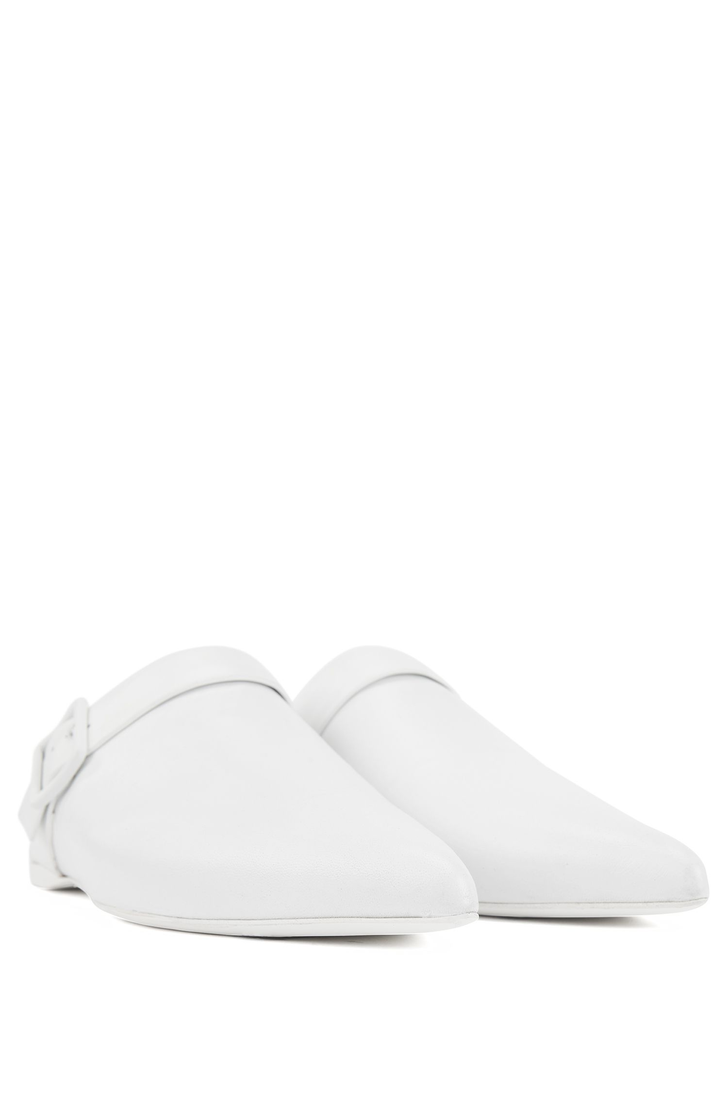 Backless loafers in Italian lambskin with pointed toe, White