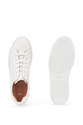 Low-cut trainers in Italian leather, White