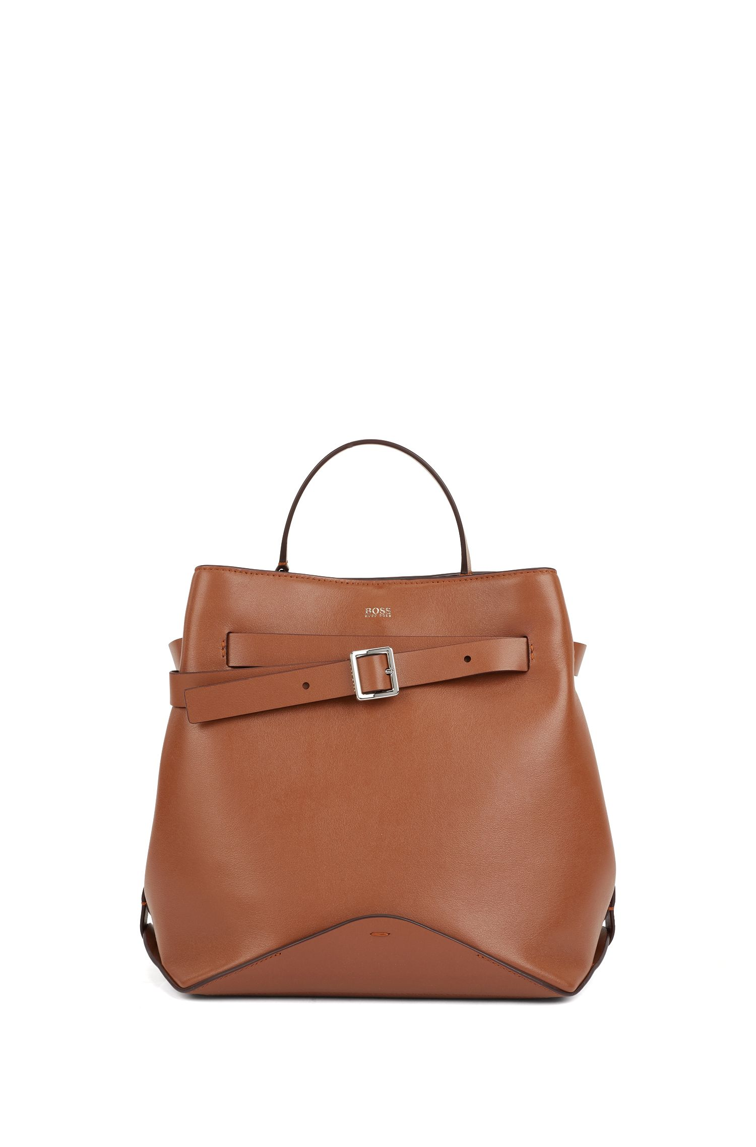 Bucket bag in Italian nappa leather with buckled strap, Light Brown