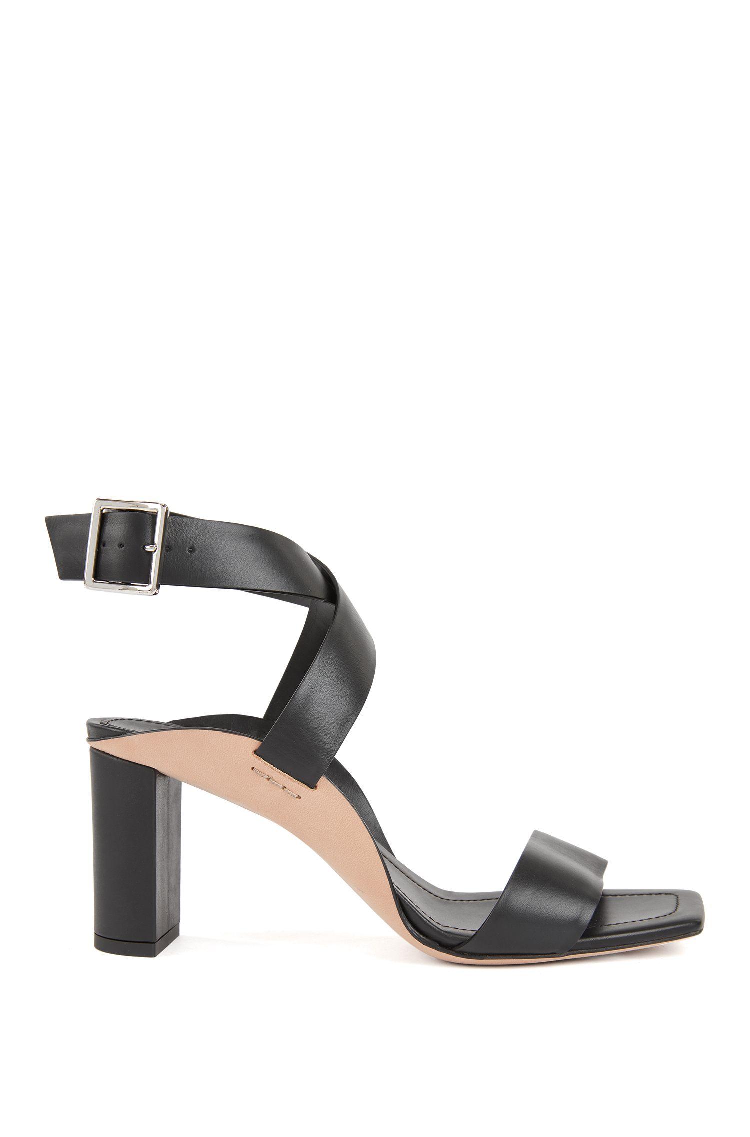 Block-heel leather sandals with wraparound straps, Dark Grey