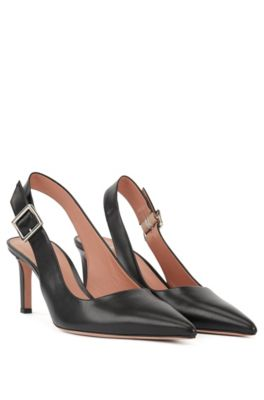 Slingback pumps in calf leather with buckle detail