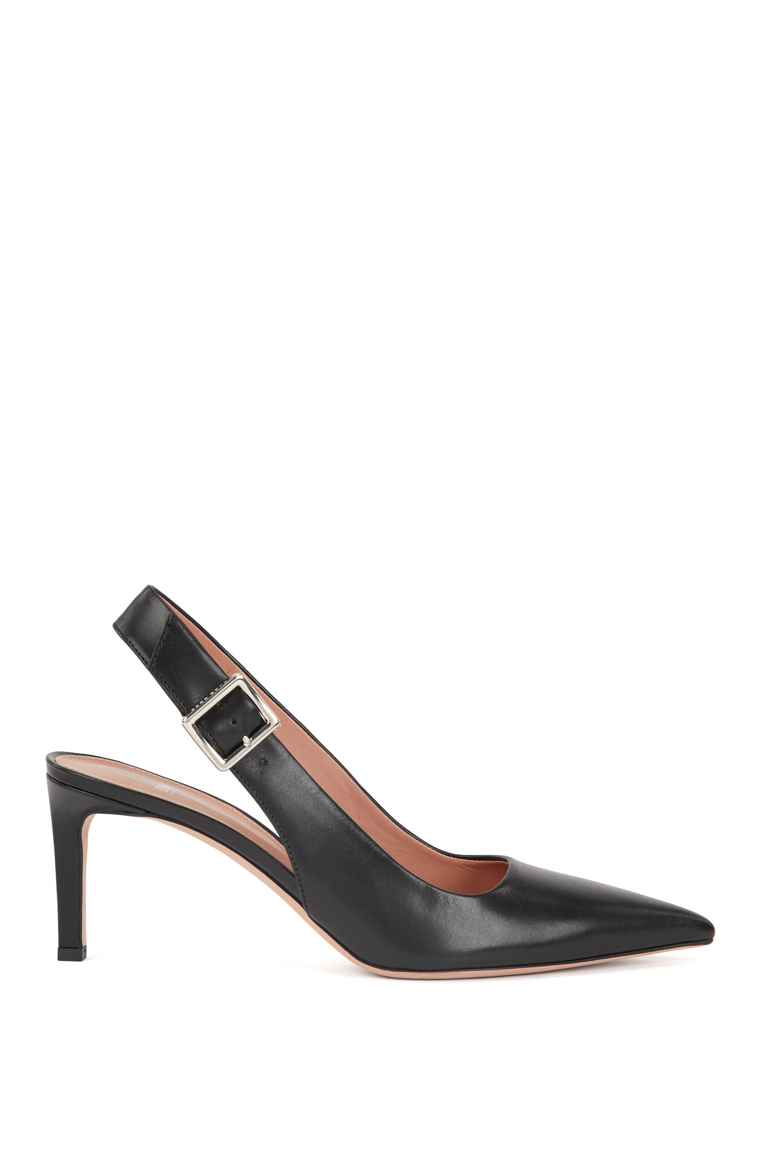 Slingback pumps in calf leather with buckle detail, Black