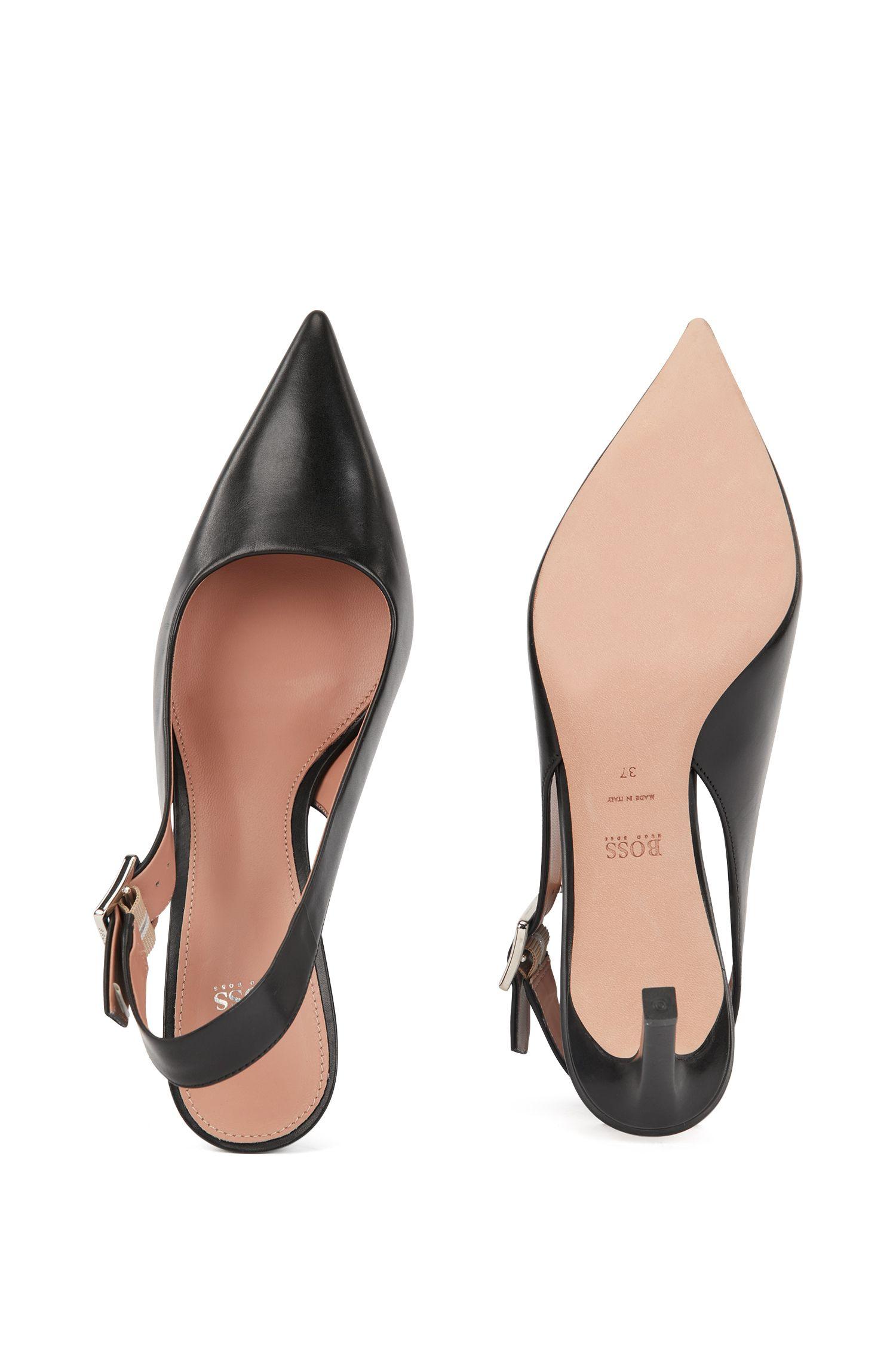 Hugo Boss - Zapatos de salón de talón abierto en piel de becerro con detalle de hebilla - 4