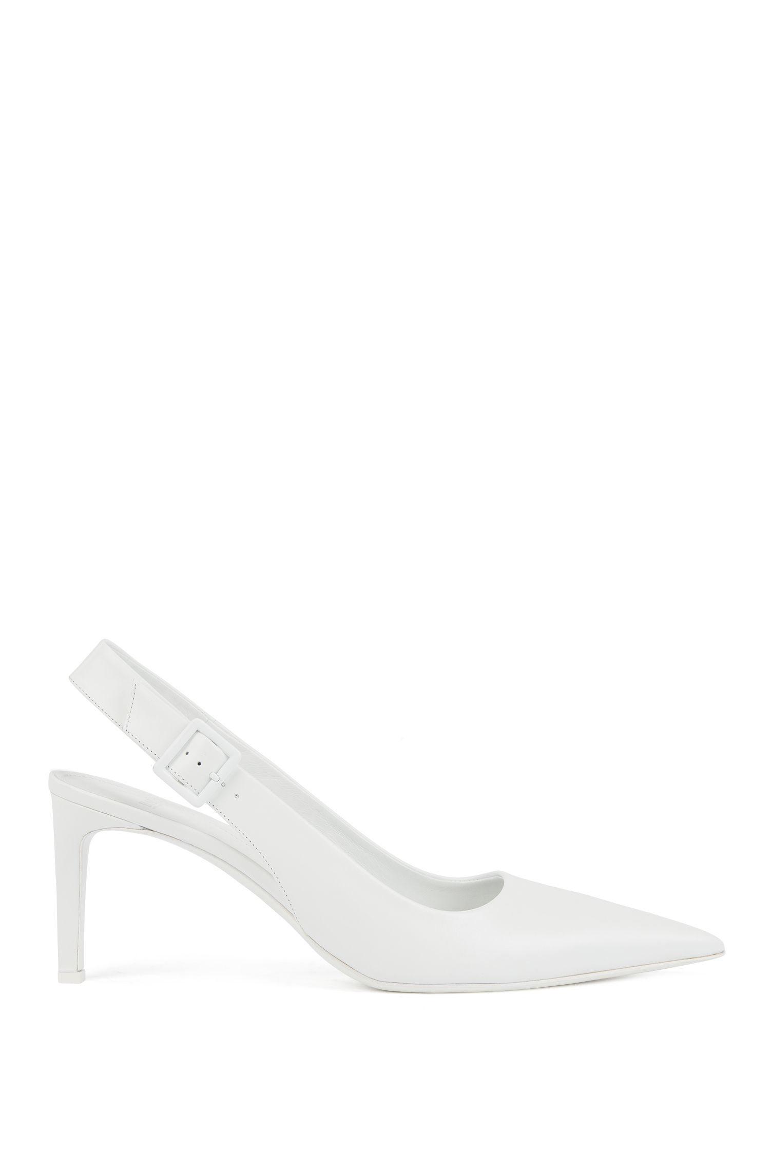 Slingback pumps in calf leather with buckle detail, White