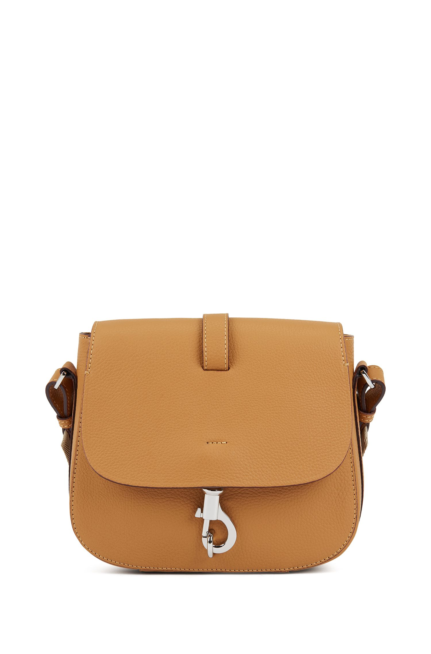 Cross-body saddle bag in grainy Italian leather, Open brown