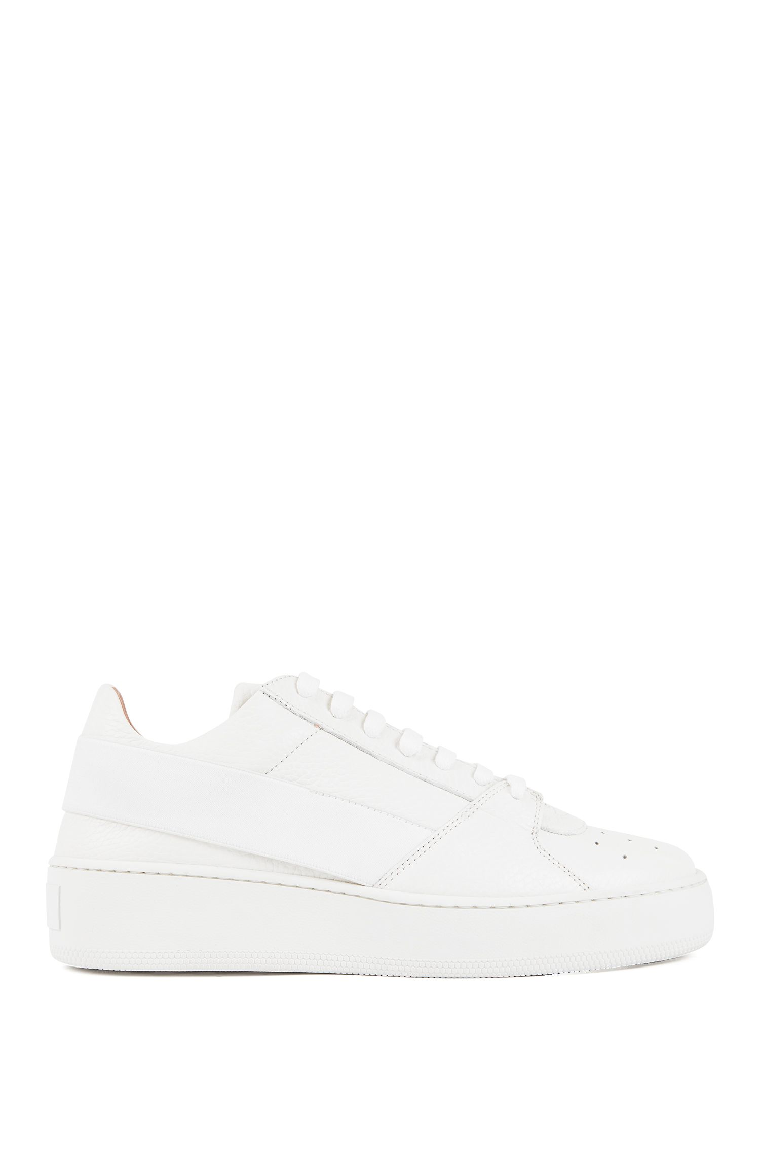 Low-top leather trainers with elastic strap and platform sole, White