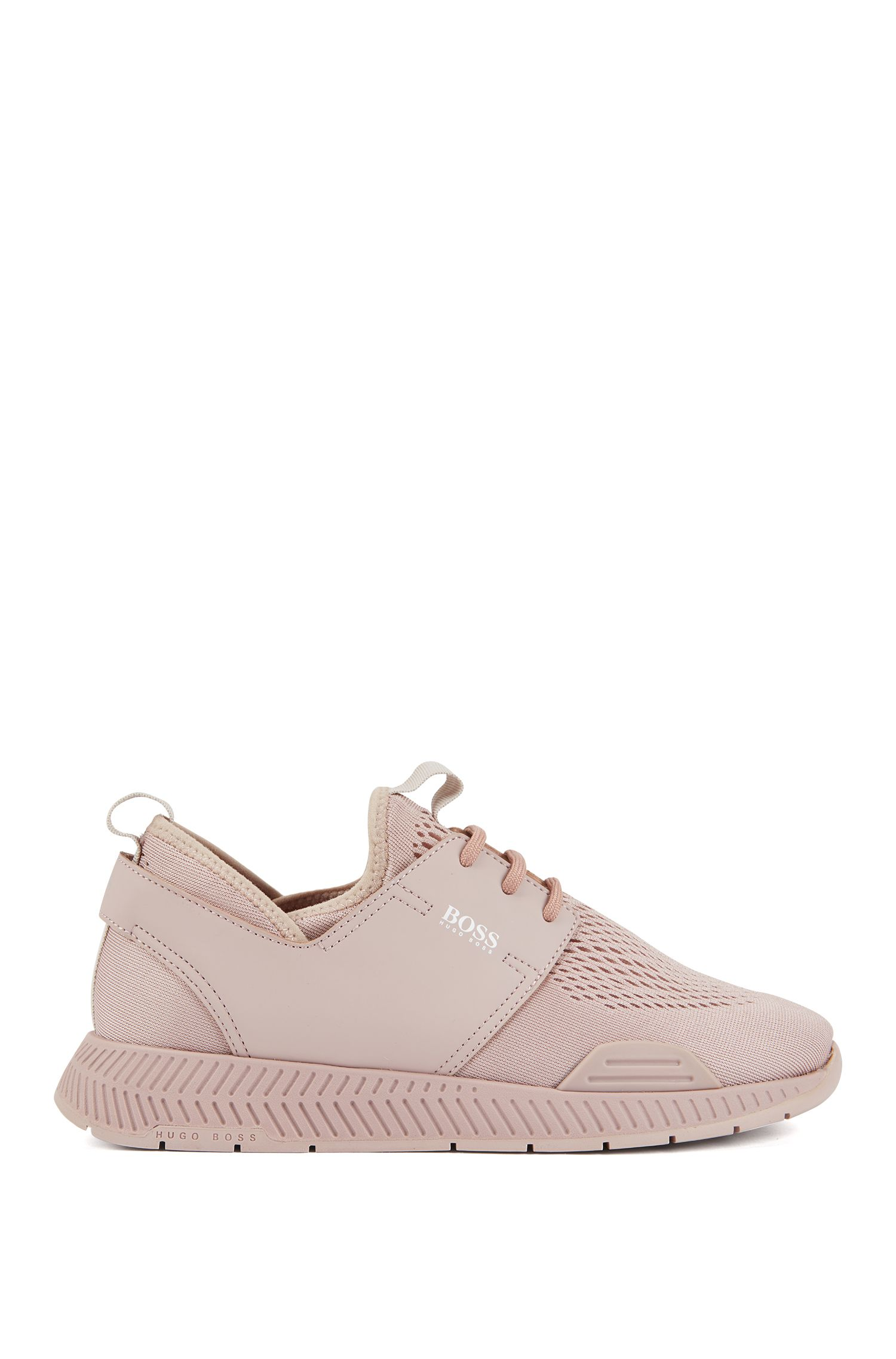 Uniseks, lage sneakers met bovenzijde van geperforeerde mesh, Lichtroze