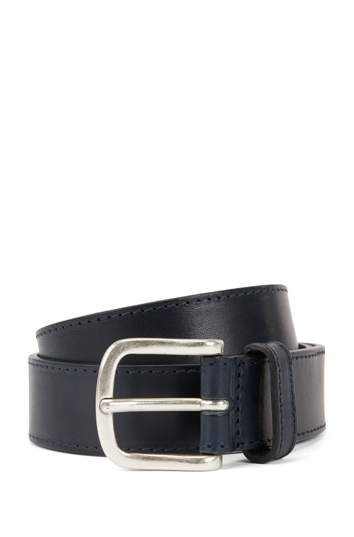 Vegetable-tanned leather belt with stitching detail, Dark Blue