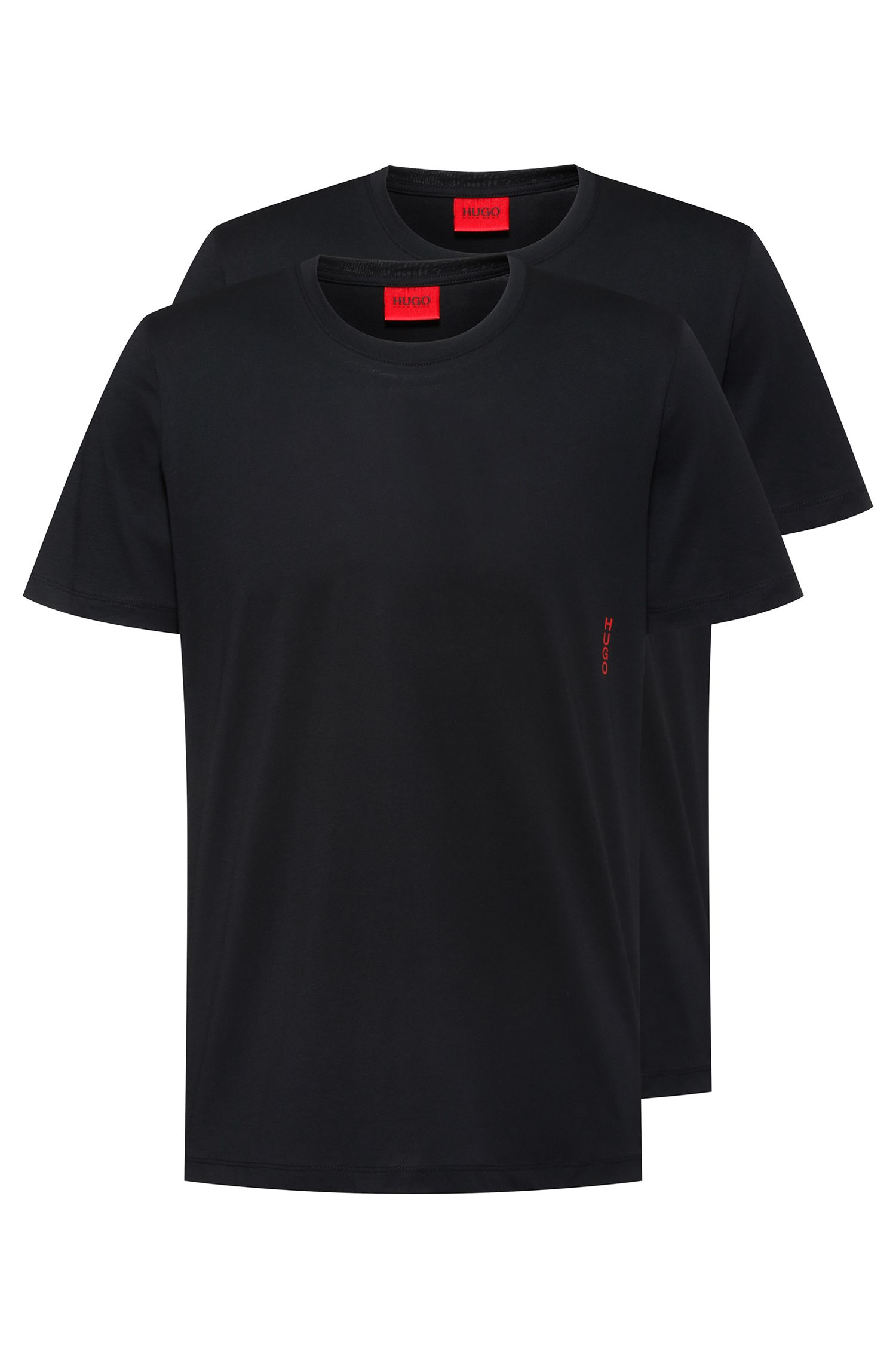 Two cotton bodywear T-shirts with vertical logo, Black