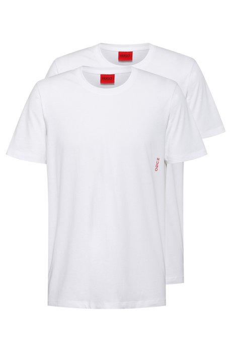 Two cotton bodywear T-shirts with vertical logo, White
