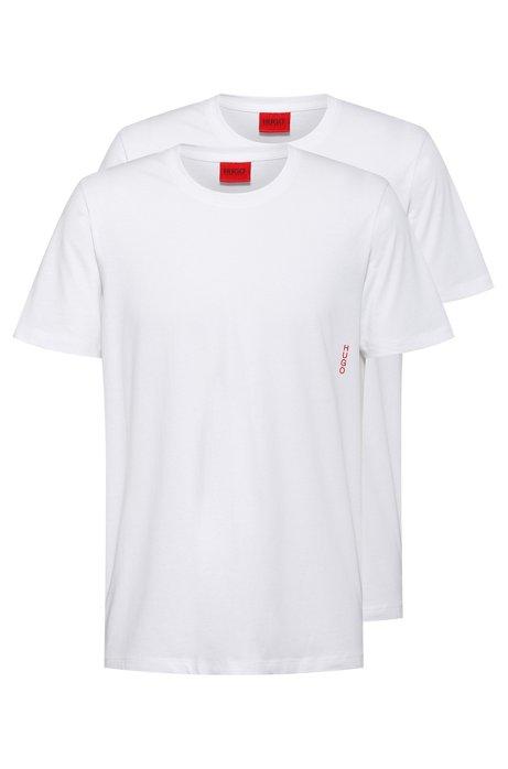 Zwei Bodywear-T-Shirts aus Baumwolle mit vertikalem Logo, Weiß
